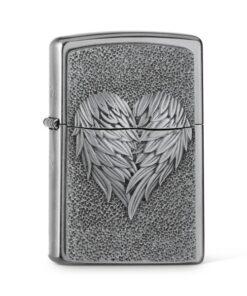 original zippo heart with feathers herz federn silber accessoire rauchen