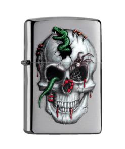 original zippo skull with snake totenkopf schlange silber feuerzeug rauchen accessoire