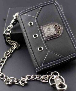 brieftasche portemonnaie accessoire schwarz biker mit kette