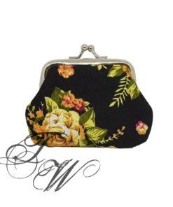 brieftasche portemonnaie accessoire schwarz rosen blumen