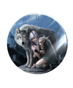 Woman With Wolf Glass Wanduhr Uhr Dekoartikel Nemesis Now