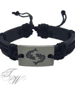 lederarmband schmuck accessoire schwarz sternzeichen