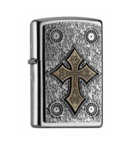 origina zippo gothic cross kreuz feuerzeug silber gold accessoire