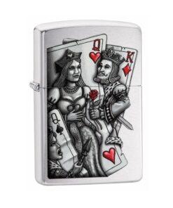 original zippo king and queen feuerzeug rauchen silbet karten