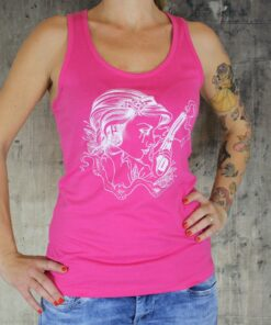 tattooworld shirt tanktop frauen oberteil mode fashion merchandise frau revolver rosa