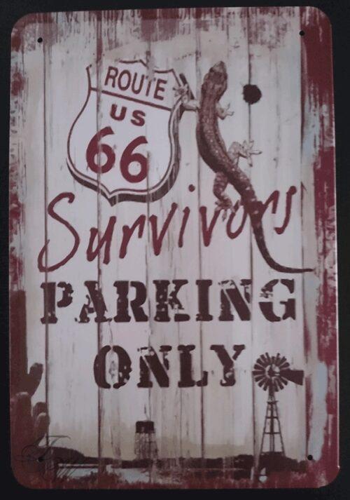 metallschild metalltafel dekoartikel schild retro vintage route 66 parking only
