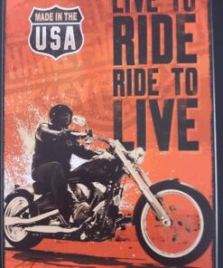 metallschild metalltafel dekoartikel schild retro vintage live to ride ride to live motorrad motorcycle biker