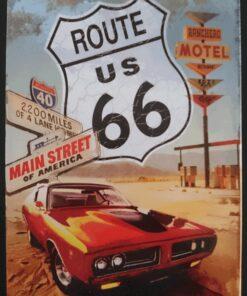 metallschild metalltafel dekoartikel schild retro vintage route 66 mustang