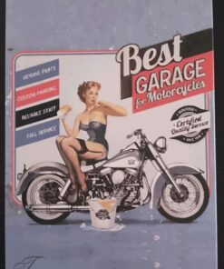 metallschild metalltafel dekoartikel schild retro vintage best garage bike motorcycle motorrad pinup girl