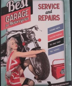 metallschild metalltafel dekoartikel schild retro vintage best garage vor motorcycle bike motorrad pinup girl