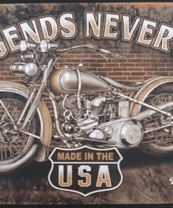 metallschild metalltafel dekoartikel schild retro vintage legends never die motorcycle motorrad bike