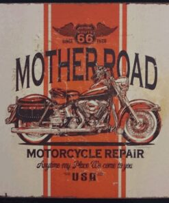metallschild metalltafel dekoartikel schild retro vintage mother road motorcycle motorrad bike