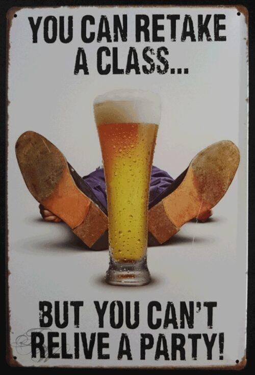 metallschild metalltafel dekoartikel schild retro vintage you can retake a glass bier