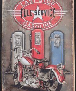 metallschild metalltafel dekoartikel schild retro vintage last stop tankstelle tankseule motorrad bike