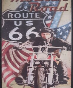 metallschild metalltafel dekoartikel schild retro vintage route 66 bike motorcycle motorrad mother road