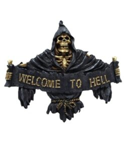 Welcome To Hell Sschild Türschild Dekoartikel Skelett Totenkopf Nemesis Now
