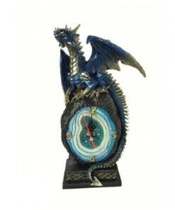 Cobalt Crystal Clock Uhr Haushalt Drache Dragon Dekoartikel Nemesis Now
