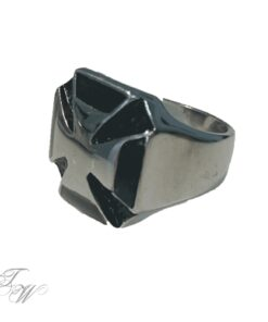Edelstahl ring silberoptik schmuck rostfrei kreuz