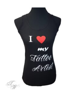 tattooworld shirt tanktop frauen oberteil mode fashion merchandise i love my tattooartist scjhwarz