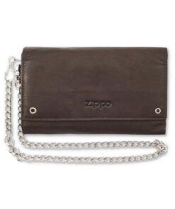 zippo brieftasche portemonnaie accessoire leder braun biker kette