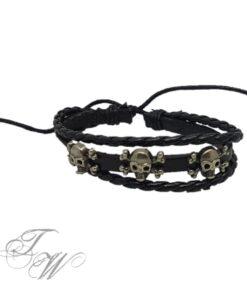 lederarmband schwarz accessoire schmuch totenkopf skull