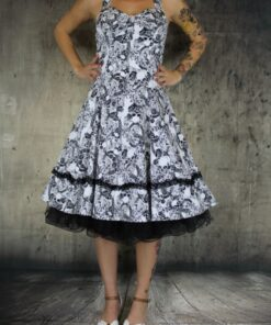 handr london dress rockabilly rockabella swingdress fashion mode damen kleid spooky skull totenkopf weiss schwarz