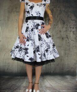 handr london dress rockabilly rockabella swingdress fashion mode damen kleid white black floral weiss schwarz