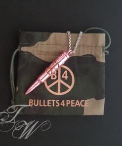 bullets 4 peace patrone accessoire schmuck halskette rostfrei logo glowstick rosa