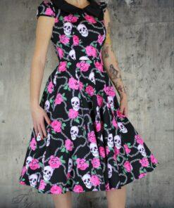 handr london dress rockabilly rockabella swingdress fashion mode damen kleid psychobilly skull rosen totenkopf rosa schwarz