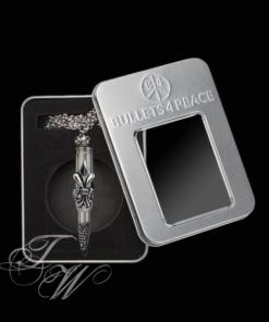 bullets 4 peace patrone accessoire schmuck halskette rostfrei fleur de lys