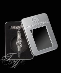 bullets 4 peace patrone accessoire schmuck halskette rostfrei key of peace notenschlüssel