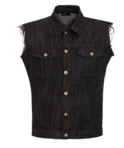 king kerosin jeansweste weste schwarz maker trouble oberteil fashion mode herren kleider biker