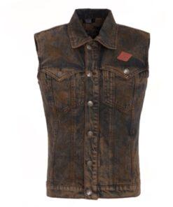 king kerosin jeansweste braun garage built weste fashion mode herren oberteil kleider