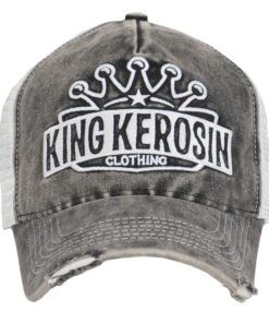 king kerosin cap baseballcap grau weiss vintage look fashion mode