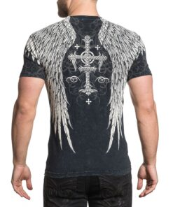 affliction saint scream tshirt shirt oberteil grau engelsflügel mode fashion oberteil herren kleider