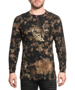 affliction longsleeve pullover rocknroll forever gold braun kleider herren oberteil fashion mode