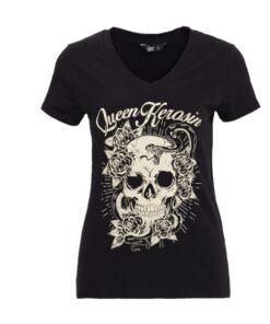 queen kerosin shirt tshirt totenkopf skull rosen schlange fashion oberteil mode damen kleider