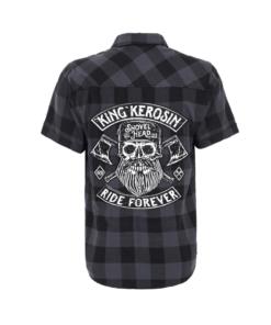 king kerosin karo hemd ride forever kurzarm blau schwarz fashion kleider mode herren