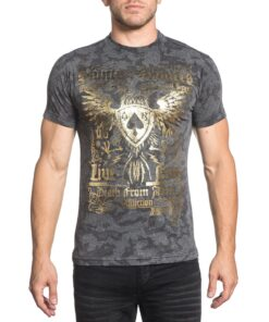 affliction saints and sinners shirt tshirt grau gold fashion mode herren oberteil kleider