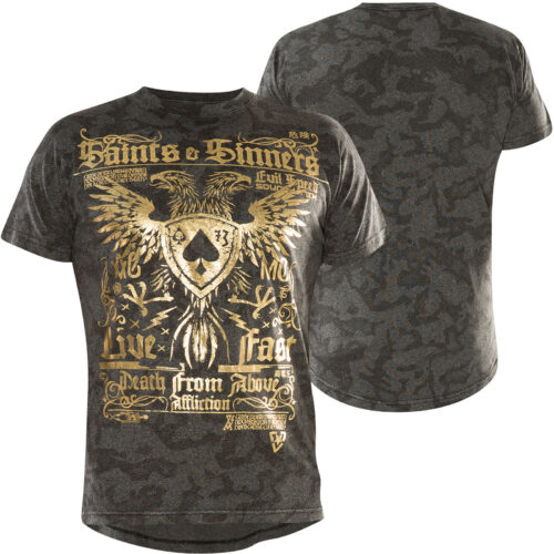 affliction saints and sinners shirt tshirt grau gold fashion mode herren oberteil kleider