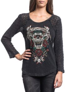 affliction screaming rose tshirt longsleeve schwarz totenkopf skull fashion mode oberteil damen kleider