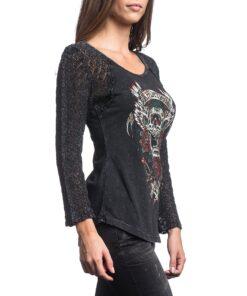 affliction screaming rose tshirt longsleeve schwarz totenkopf skull fashion mode oberteil damen kleider