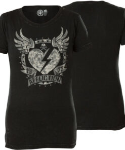 affliction shirt tschirt heart herz flügel schwarz fashion mode damen oberteil kleider
