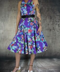 handr london flower dress rockabilly rockabella kleid violett blumenkleid fashion mode damen