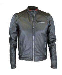replay lederjacke schwarz futter rot mode fashion echtleder herren bikerjacke