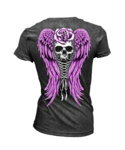 Lethal angel shirt tschirt corset winged skull totenkopf rose oberteil mode fashion damen kleider grau