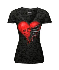 lethal angel shirt tschirt rib cage skull heart herz totenkopf mode fashion black schwarz oberteil damen