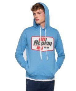replay hoodie sweater hellblau kapuze pullover logo fashion kleider oberteil