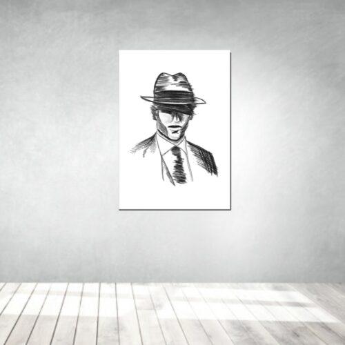 art artwork kunstwerke leinwand poster galleryprint tattooworld rui lopes gentleman charcoal