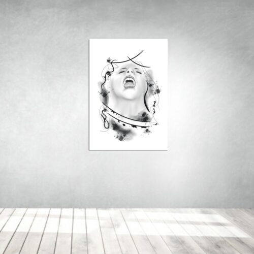 art artwork kunstwerke leinwand poster galleryprint tattooworld rui lopes screamin woman